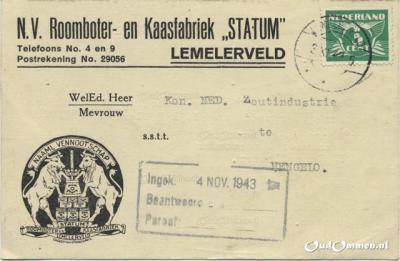 Naast de beetwortelsuikerfabriek is ook roomboter- en kaasfabriek Statum lange tijd een grote werkgever in Lemelerveld. De fabriek is in functie van de jaren zeventig van de 19e eeuw tot ca. 1945. Deze briefkaart uit 1943 is dus van vlak voor de sluiting.