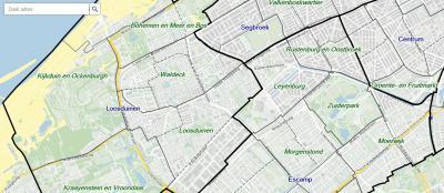 Loosduinen was een vrij grote gemeente, die helemaal tot aan de Beeklaan en de De La Reyweg liep (= de dikke zwarte lijn bij de naam Oostbroek, en die naar het N en Z doortrekken). Tegenwoordig is dit verdeeld in stadsdelen Loosduinen, Escamp en Segbroek.