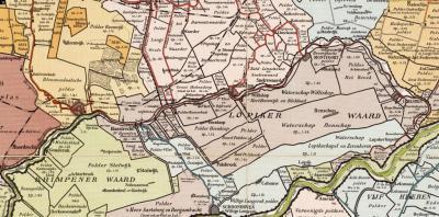 Kaart van de Lopikerwaard e.o. anno ca. 1750