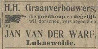 De plaatsnaam Lucaswolde wordt tegenwoordig met een c gespeld, maar werd vroeger ook met een k gespeld, Lukaswolde dus, getuige bijvoorbeeld deze advertentie (uit vermoedelijk begin 20e eeuw).