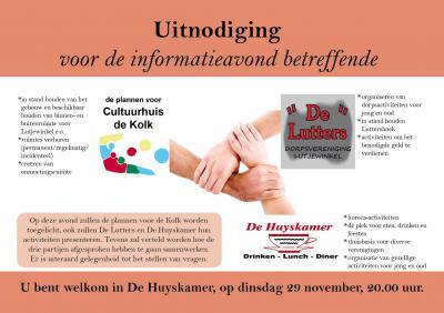 Het kleine dorp Lutjewinkel (750 inw.) heeft veel voorzieningen zien verdwijnen, maar blijft toch een bruisend dorp; de in 2016 gesloten basisschool wordt Cultuurhuis De Kolk, en verder zijn er nog De Lutters met de Luttershoek, en De Huyskamer. 1+1+1=4!