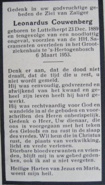 De familie Couwenberg woont al vele generaties op Luttelherpt. Overlijdensbericht van Leonardus Couwenberg (1889-1953), die door een noodlottig ongeval om het leven is gekomen.