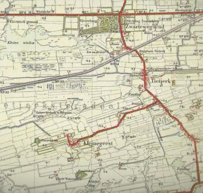 Buurtschap Lytse Geast (Kleinegeest) op een kaart uit de jaren twintig van de 20e eeuw.