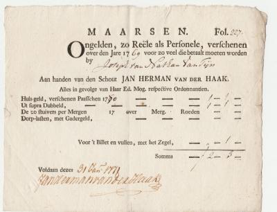 Tot 1789 mochten Joden niet in de stad Utrecht wonen; vele Joden kwamen daarom tot die tijd in Maarssen wonen, zoals deze Joseph van Nathan van Tijn anno 1771. (© René Hillesum Filatelie / www.filatelist.com)