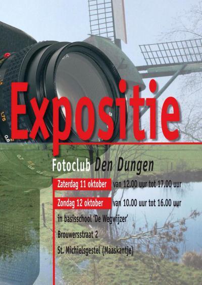 Fotoclub Den Dungen houdt in oktober haar tentoonstelling in Maaskantje. Er hangen ca. 80 onbewerkte foto's, die het bewonderen zeker waard zijn. Ook kun je onder het genot van een bakje koffie van gedachten wisselen met de makers ervan.
