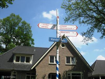 Ook voor fietsers staat Mander keurig op officiële richtingborden in de omgeving aangegeven.