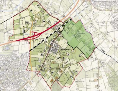 Het grondgebied van de parochie Mariaheide, zoals afgebeeld in de Structuurvisie voor het dorp. De buurtschap Duifhuis is anders gekleurd, omdat deze wel onder de parochie valt maar niet onder dezelfde burgerlijke gemeente. Duifhuis is namelijk gem. Uden.