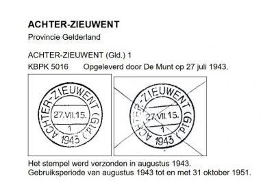 Buurtschap Achter-Zieuwent wordt een dorp door de bouw van de RK kerk in 1932. Het dorp blijft aanvankelijk nog Achter-Zieuwent heten, wat o.a. blijkt uit het in 1943 geopende hulppostkantoor, dat dit stempel krijgt uitgereikt. (© Cees Janssen)