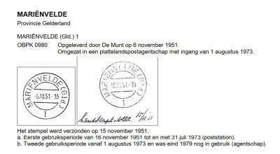 In 1943 wijzigt de plaatsnaam Achter-Zieuwent, op voorspraak van de pastoor, in Mariënvelde. De PTT past haar poststempels daar uiteraard ook op aan, vandaar dat het hulppostkantoor in het dorp in november 1951 dit stempel krijgt. (© Cees Janssen)