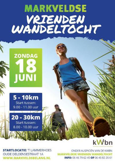 De Markveldse Vrienden Wandeltocht rond Markvelde is er sinds 2016 en is zo'n succes dat ze ook daar - net als van Lammershoes Live sinds 2015 - een jaarlijks evenement van hebben gemaakt. Je kunt kiezen uit de afstanden 5, 10, 20 en 30 km.