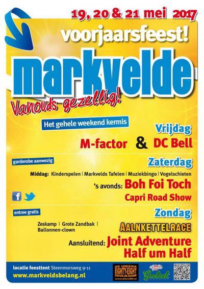 Met het voorjaarsfeest (weekend in mei) zijn ze in Markvelde al vele jaren telkens de eerste in de lange rij van regionale 'kermisfeesten'. Het is dan drie dagen lang kermis, er zijn vele sport- en spelactiviteiten en 's avonds zijn er live bands.
