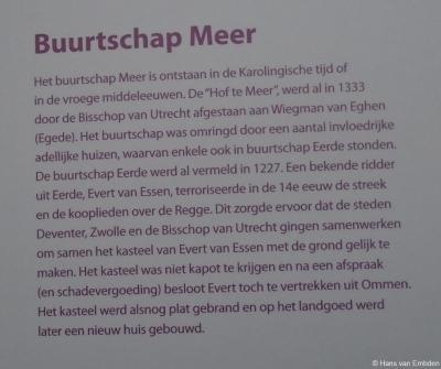 Informatiepaneel 1 over de geschiedenis van buurtschap Meer