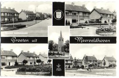Ansichtkaart Groeten uit Meerveldhoven (vermoedelijk jaren zestig). Tot in de jaren zestig wordt Meerveldhoven nog als dorp beschouwd. Daarna wordt het opgeslokt door - en is het sindsdien een wijk van - het in hoog tempo expanderende buurdorp Veldhoven.