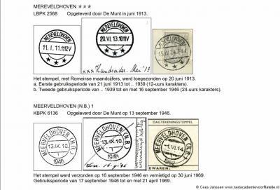 De plaatsnaam Meerveldhoven heeft nog in de 20e eeuw diverse spellingswijzigingen ondergaan. Zo was het vóór 1913 Meerveldhoven, wordt het in dat jaar Mereveldhoven, en vanaf 1946 weer Meerveldhoven. Althans in de poststempels.