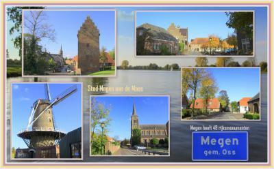 Megen, collage van stadsgezichten (© Jan Dijkstra, Houten)
