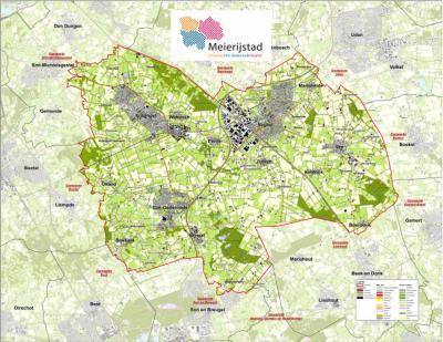 Kaart van de nieuwe gemeente Meierijstad, die per 1-1-2017 is opgericht uit samenvoeging van de gemeenten Schijndel, Sint-Oedenrode en Veghel