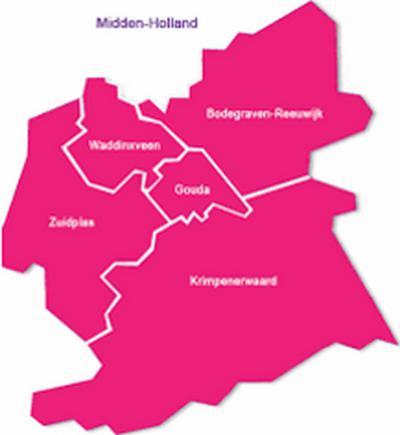 Dit is de Regio Midden-Holland van de 5 gemeenten die onder die naam samenwerken. Maar deze regio is niet hard afgebakend; andere regionale instellingen met de naam Midden-Holland kunnen een groter of kleiner gebied bestrijken. (© www.zogmh.nl)