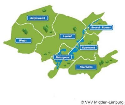 De VVV Midden-Limburg doet het nét weer even anders en bestrijkt bijna hetzelfde gebied, minus de gemeente Echt-Susteren in het Z (die bij hen onder Zuid-Limburg valt), plus de gemeente Beesel in het N.