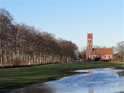 De deels nog romaanse kerk van Midwolde, op een zonnige dag na een regenbui, in februari 2019. (© Harry Perton. Voor meer foto's van hem van Midwolde e.o. zie https://groninganus.wordpress.com/2019/02/15/rondje-nienoord)
