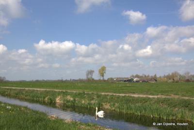 Vanaf de weg Mijzijde liggen de boerderijen diep in de polder, soms wel meer dan 500 meter. Hier gezien vanuit de Reigerstraat in het dorpje Kanis.