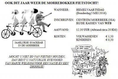 Op Hemelvaartsdag is in de buurtschap Moerbeek de jaarlijkse Morrebokker Fietstocht (ca. 20 km). Na afloop kun je je tegoed doen aan een natje en droogje bij de speciaal hiervoor ingerichte snackbar.