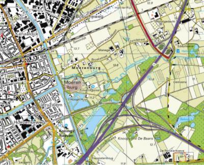 Actuele kaart van buurtschap en Landschapspark Moerenburg, zoals dit gebied sinds 2006 'op de kaart wordt gezet'. (© Kadaster)