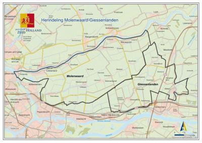 De gemeenten Molenwaard en Giessenlanden zijn in 2019 gefuseerd tot de nieuwe gemeente Molenlanden, die een groot deel van de Alblasserwaard beslaat en een zeer klein deel van de Vijfheerenlanden (= een O deel van Arkel). (© Provincie Zuid-Holland)