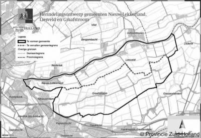 Kaart van de gemeente Molenwaard, die in 2013 is ontstaan uit samenvoeging van de gemeenten Graafstroom, Liesveld en Nieuw-Lekkerland, en in 2019 is opgegaan in de nieuwe gemeente Molenlanden