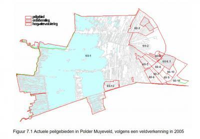 De buurtschap Muyeveld omvat alleen het W deel van het horizontale lint in het midden van deze kaart. De Pólder Muyeveld omvat het héle en omvangrijke gebied op de kaart. In het hoofdstuk Landschap etc. vind je een rapport met een uitvoerige beschrijving.