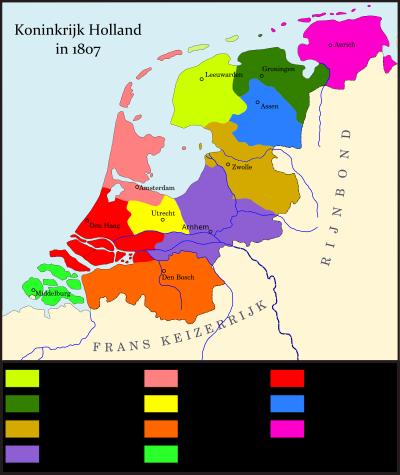 Ons land heeft vele verschillende namen en omvangen gehad. Zo was er van medio 1806-1810 het Koninkrijk Holland, met vanaf 1807 de indeling zoals op deze kaart gevisualiseerd. (bron: user Joostik op Wikipedia)
