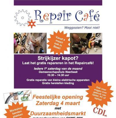 Sinds 2017 is er in Neerbeek maandelijks het Repair Café. Je kunt er gratis o.a. je kleine elektrische apparaten en kleding laten repareren die je zonde vindt om weg te doen. De bedoeling ervan is dat we langer met onze spullen doen en minder weggooien.