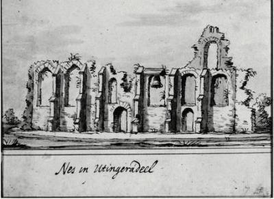 De kerk van Nes bij Akkrum is vermoedelijk al in de 17e eeuw gesloopt en niet herbouwd. In plaats daarvan komt er een klokkenstoel. Deze tekening is door J. Stellingwerf gemaakt in 1722, maar dat kan een impressie zijn uit een eerder jaar.