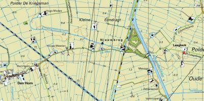 Zelfde kaart, 70 jaar later: pas in 2009 is de verbinding tussen Leegkerk en Den Horn hersteld door de bouw van de fietsbrug Tichelwerkbrug, die je hier afgebeeld ziet. (© Kadaster)