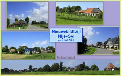 Buurtschap Nieuwebildtzijl, gelegen aan de Nieuwebildtdijk, collage van buurtschapsgezichten (© Jan Dijkstra, Houten)