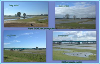 In 2015 is het project 'Ruimte voor de Rivier' gereed gekomen, waarbij o.a. de Lek bij Nieuwegein en Houten klimaatbestendiger is gemaakt, door het vergraven van de uiterwaarden. Op de foto een mooie visualisatie van de situatie met hoog én laag water.