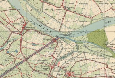 Ca. 1950: de buurtschap Nieuwesluis N van en vallend onder Heenvliet komt nog korstondig tot bloei, met een jachthaven en zelfs een zwembad. Maar slechts een decennium later slaat het noodlot toe...