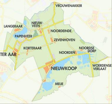 Sinds de gemeentelijke herindelingen van 2007 omvat de gemeente Nieuwkoop 13 dorpen. Op dit kaartje staan ze allemaal, en kun je ook mooi de ligging ten opzichte van elkaar zien. (bron: Dorpsplan Ter Aar en Korteraar)