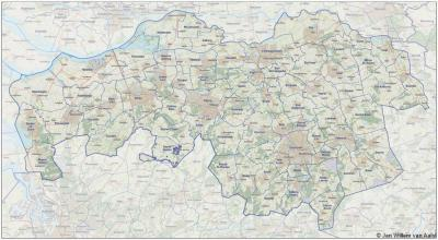 Noord-Brabant met zijn gemeenten anno 2016.