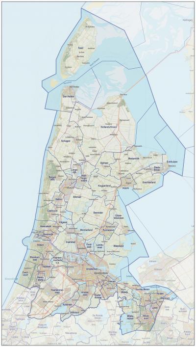 Kaart van Noord-Holland anno 2016, met de (grenzen van de) toenmalige gemeenten (bron: J.W. van Aalst, www.opentopo.nl)