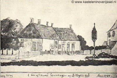Noord Deurningen, tekening van Meyling/A. Schoenmaker uit 1733 van de havezate Het Lubberdink, thans Klooster Noord Deurningen of Klooster Franciscanessen