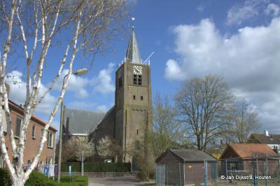 De Nederlands Hervormde kerk uit de 15e eeuw in Noordeloos, ze noemen hem ook wel de Grote Kerk