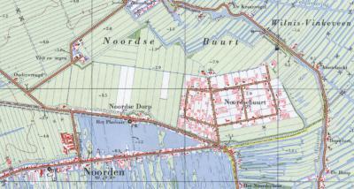 Op deze kaart uit ca. 1970 is te zien dat het dorp Noorden altijd al onder de gem. Nieuwkoop viel. Slechts enkele panden in het N, N van de Prolkade, vielen onder gem. Zevenhoven en enkele panden O van de gele (provincie)lijn vielen onder de gem. Wilnis.