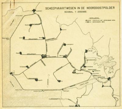 Kaart van de vaarwegen in de Noordoostpolder