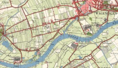 Hoewel de plaatsnaam Nude al vele eeuwen oud is, verschijnt hij pas sinds eind jaren vijftig van de 20e eeuw op kaarten. Het W, Rhenense deel, staat tot die tijd op kaarten als buurtschap (De) Grebbe. (© www.kadaster.nl)