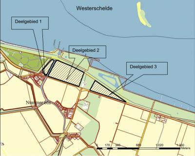 Rond 2007 zijn drie bijna aaneengesloten gebiedjes N van buurtschap Nummer Een bij Hoofdplaat ontwikkeld tot 'nieuwe natuur', als een van de natuurcompensatieprojecten voor het verdiepen van de Westerschelde. Zie het kopje Landschap etc. (©www.zeeland.nl)