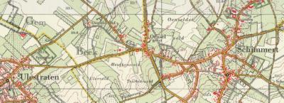 Buurtschap Oensel bij Schimmert t/m 1981. Het W deel valt onder de gemeente Beek (zie de gele grenslijnen), met in het uiterste NW de rijksmonumentale Oenselderhof. Het O deel valt onder de gemeente en het dorp Schimmert.
