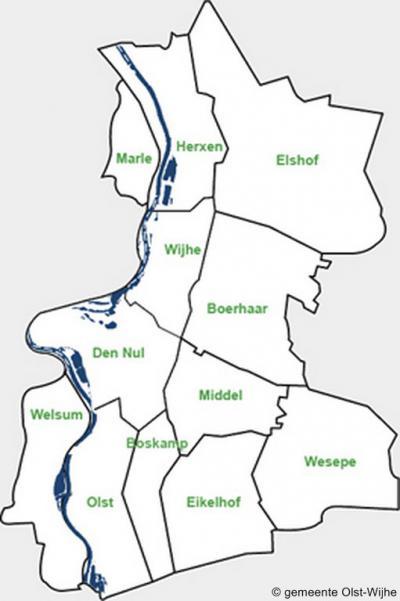 Kaart met de dorpen en buurtschappen in de gemeente Olst-Wijhe