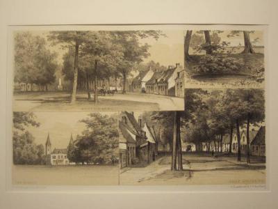 Oost- en West-Souburg, ansichtkaart uit ca. 1900 met o.a. rechtsbovenin het Ronde Putje in Oost-Souburg