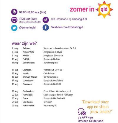 Het dorp Oostendorp bij Elburg heeft in 2017 meegedaan aan het evenement Zomer in Gelderland van Omroep Gelderland, waarbij een 15-tal dorpen strijdt om de titel 'Mooiste Dorp van Gelderland'.