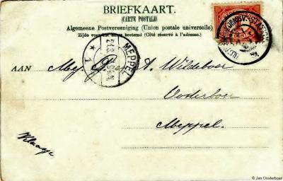 Ansichtkaart (1907) aan de fam. G. en A. Wildeboer in de buurtschap Oosterboer bij Meppel